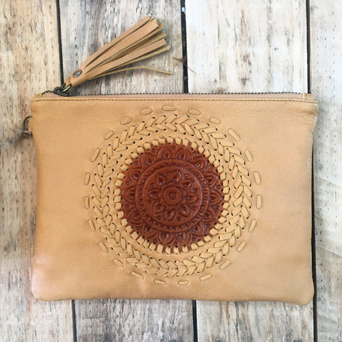Mandala Clutch - Tan