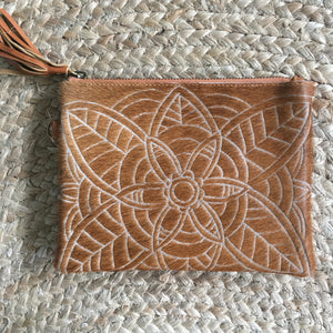 Carved Hide Clutch - Tan