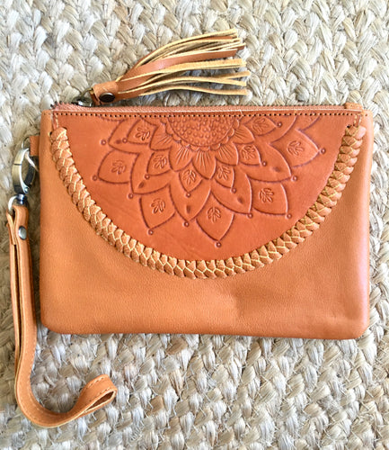 Embossed Mini Clutch - Tan