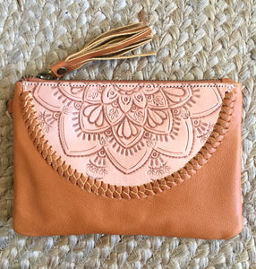 Embossed Mini Clutch - Nude