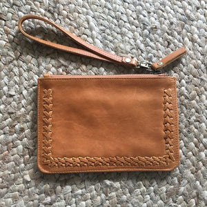 Stitched Mini Clutch - Tan