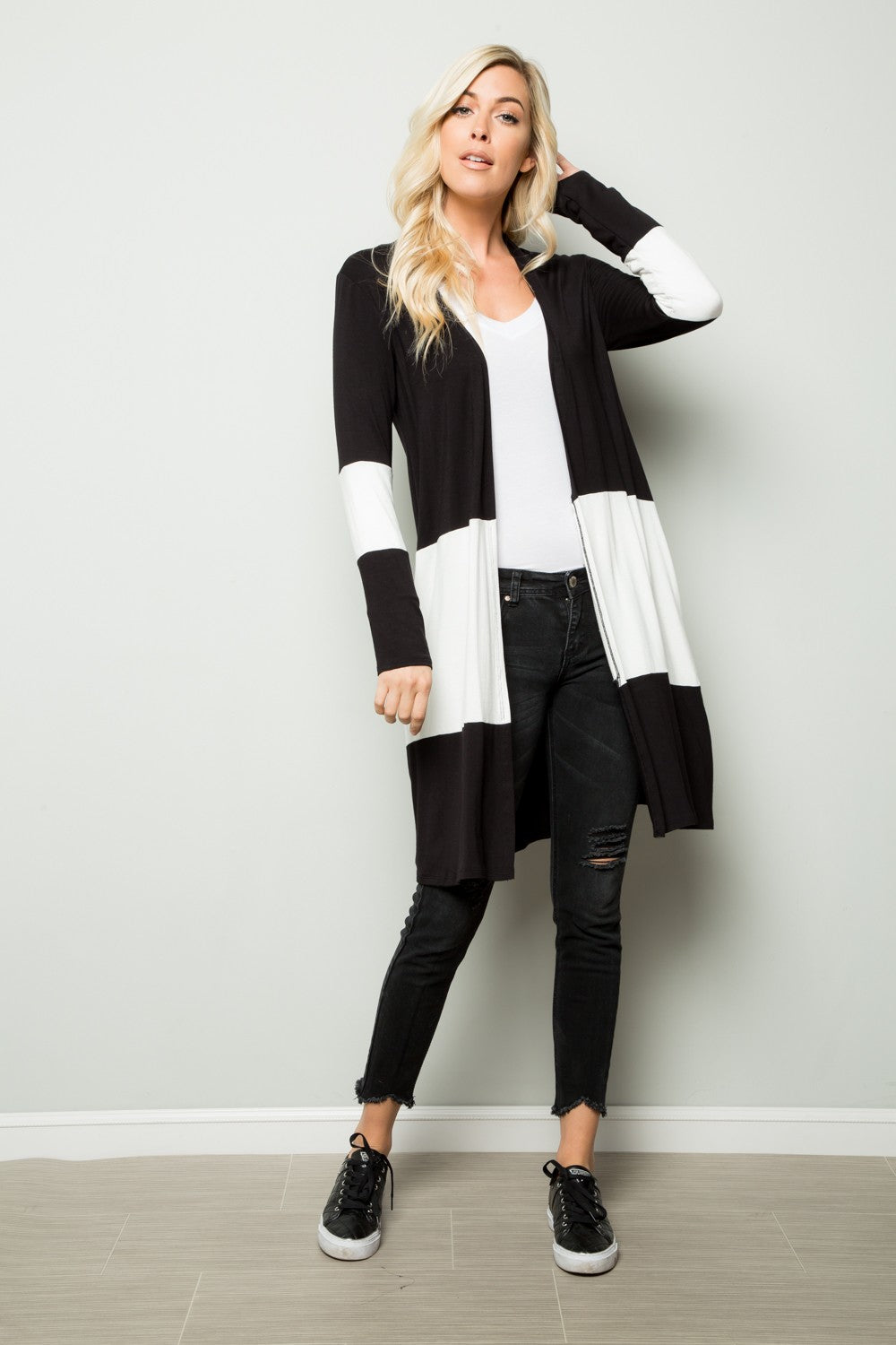 Black/White Jumbo Stripe Cardigan
