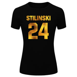 Women's Fashion Stilinski 24 Gold Glitter Print Short Sleeve Funny T-shirt (Size S-XL)
