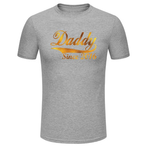Men's Fashion Daddy Since 2016 Gold Glitter Print Short Sleeve Funny T-shirt Fathers' Day Gifts (Size XS-3XL)