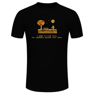 Men's Fashion I went Outside Once, The Graphics Weren't That Good Gold Glitter Print Short Sleeve Funny Gamer T-shirt (Size XS-3XL)