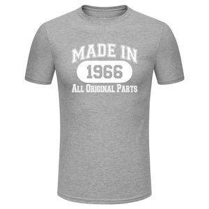 Men's Fashion 50th Birthday Gift Made In 1966 All Original Parts White Print Short Sleeve Funny T-shirt Funny Birthday Tee (Size XS-3XL)