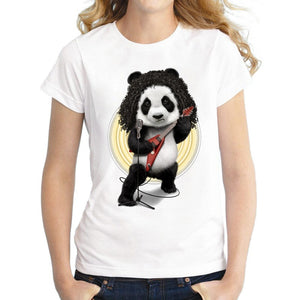 3D Funny Music Panda Print Fashion Women Summer T-shirts Tops Casual Cool O-neck Short Sleeves Blouse Graphic Tees Blouse