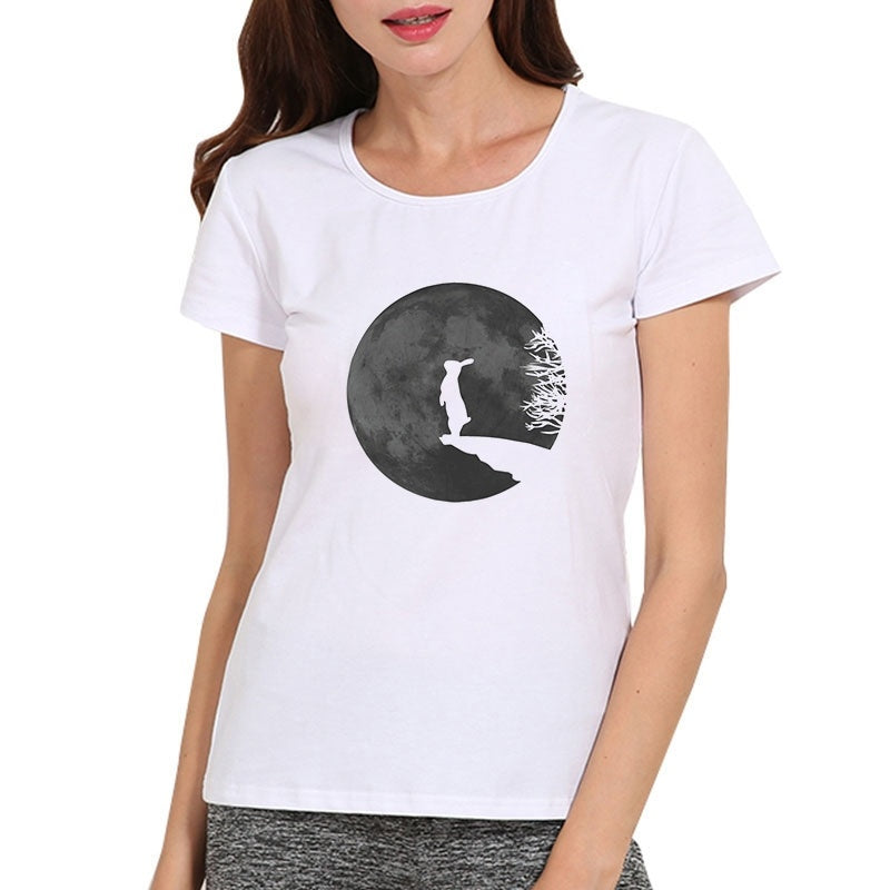 Rabbit and Moon Print Fashion Summer Women Tops T-shirts Casual O-neck Short Sleeves Graphic Tees Blouse