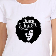 Load image into Gallery viewer, Black Queen Letter Print Summer Women Fashion Tops Blouse Short Sleeves O-neck Graphic Tees Casual T-shirts