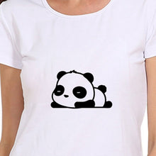 Load image into Gallery viewer, Cute Lazy Panda Print Fashion Short Sleeves O-neck White Graphic Tees T-shirts Summer Women Tops Casual Blouse