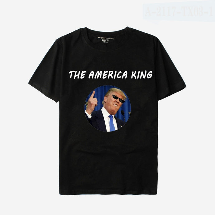 2017 Hiphop Fashion Cute the American King Print T Shirt Plus Size Women Cotton Tops Lovers Tshirt