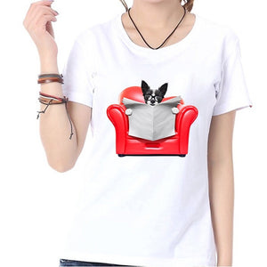 Sofa Dog Print Fashion Summer Women Top Shirt White Casual Loose O-neck Short Sleeves Blouse T-shirt Graphic Tee