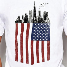 Load image into Gallery viewer, American Flag and City Print Casual Tops Summer Men White Cotton Shirts O-neck Short Sleeves T-shirts Graphic Tees