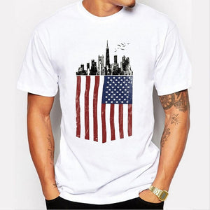 American Flag and City Print Casual Tops Summer Men White Cotton Shirts O-neck Short Sleeves T-shirts Graphic Tees