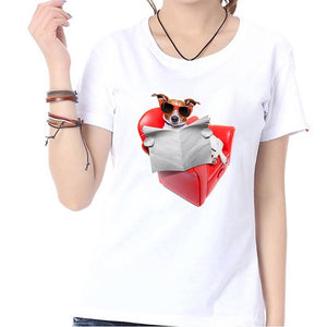 Sofa Dog Print O-neck Short Sleeves Fashion Summer Women Tops Shirts White Casual Loose Blouse T-shirts Graphic Tees