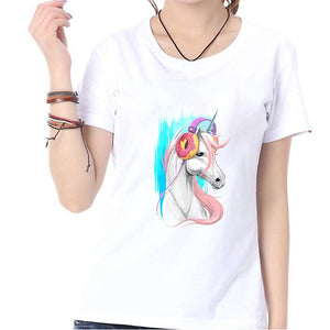 Cute Music Unicorn Print Summer Fashion Women Tops T Shirts Casual O-neck Short Sleeves White Cotton Blouse Graphic Tees