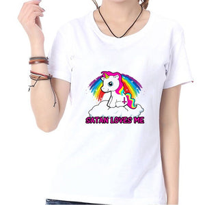 SATAN LOVES ME Letter and Unicorn Print Fashion Summer Cute Kawaii Women T Shirt Blouse O-neck Short Sleeve Shirts Tops Graphic Tees