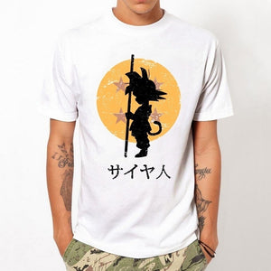 Men Black White Color Harajuku Dragon Ball z Character Design anime Printed Short Sleeve Tee tops voste homme