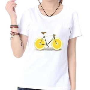 Cute Funny Lemon Bike Print Summer Casual Fashion Women Shirts Tops O-neck Short Sleeves White Blouse T Shirt Graphic Tees