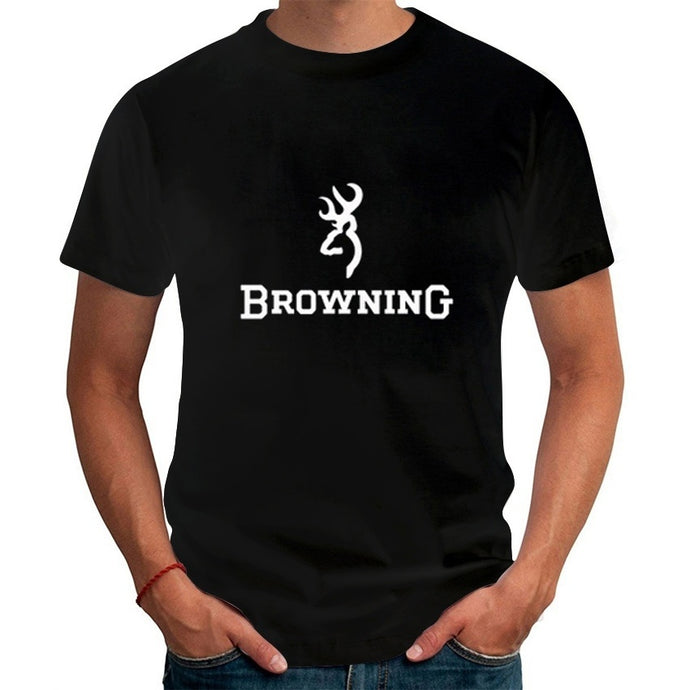 Men T Shirts Fashion 2017 Browning Firearms Logo Graphic Printed T-Shirt  Summer Casual Short Sleeve Tops Tees
