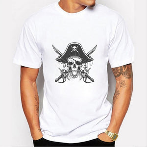 Pirate Skull Print Cool T Shirt Tops Men Summer Fashion Casual O-neck Short Sleeves White Modal Shirts Graphic Tee