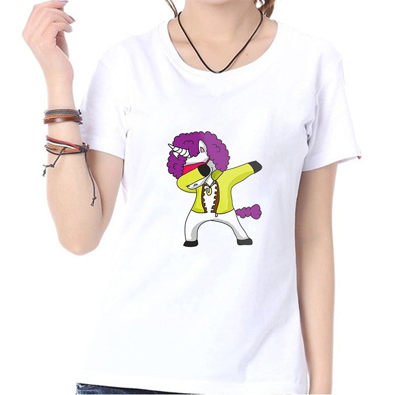 Dabbing Unicorn Funny Print Summer Fashion Casual Tops T-shirts O-neck Short Sleeves White Modal Blouse Shirts Graphic Tees