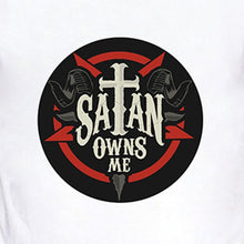 Load image into Gallery viewer, Satan Owns Me Letter Print Cool Summer Men Fashion Tops Shirts Casual O-neck Short Sleeves White Cotton T Shirts Graphic Tees