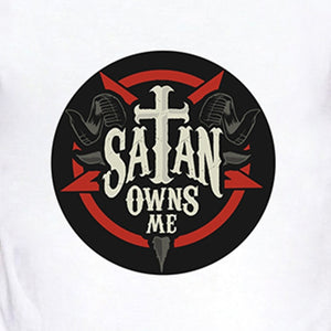 Satan Owns Me Letter Print Cool Summer Men Fashion Tops Shirts Casual O-neck Short Sleeves White Cotton T Shirts Graphic Tees