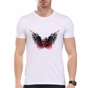 3d Weapons Wing Skull Print Cool Men Summer Fashion Tops Shirts Casual O-neck Short Sleeves White Cotton T-shirts Graphic Tees