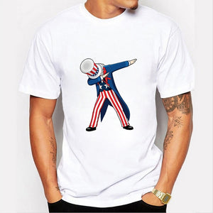 Fashion Funny Dabbing Uncle Sam Print Summer Men Cool Tops Shirts White Cotton O-neck Cotton Graphic Tees T Shirts