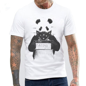 2017 Men Cool Style White Summer Gangster Panda Printed T Shirt