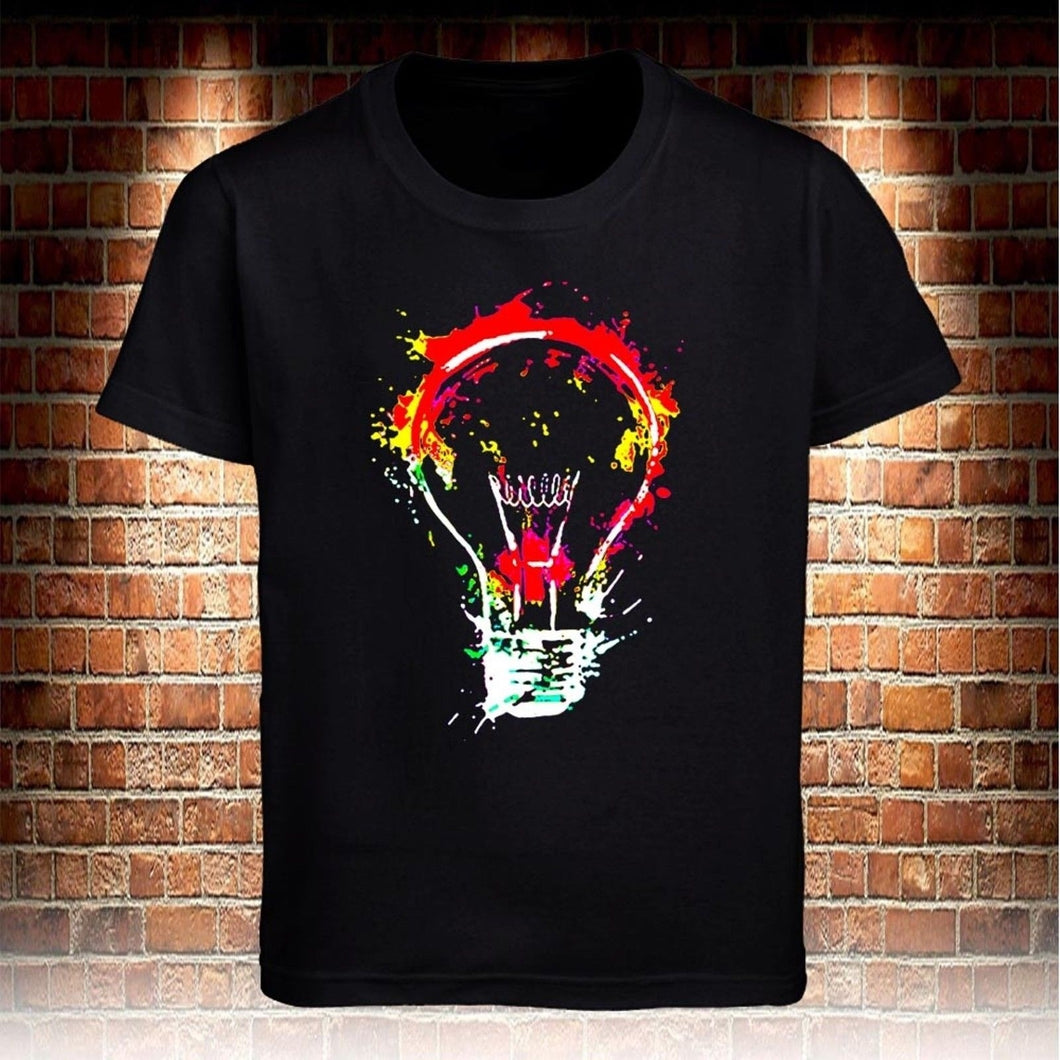 Fashion Colorful Bulb Mens T-shirt Cotton Casual O-neck Shirt Cool