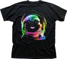 Load image into Gallery viewer, Space Pug Dog Nasa Space Man Astronaut Rocket Black Printed T-shirt Men