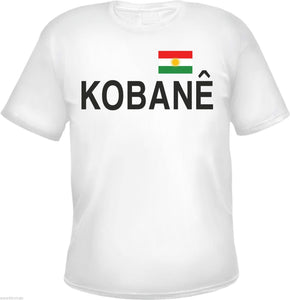 Kobane Men's T-Shirt - White - Print: Kobane With Kurdistan Flag - S to 3XL
