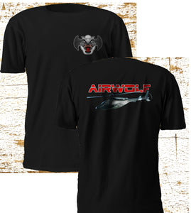 New RARE AIRWOLF Helicopter Combat TV SERIES Blue Thunder Black T Shirt S-3XL