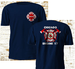 New Chicago Firefighter Department Backdraft Engine 17 Fire Navy T-Shirt S - 3XL