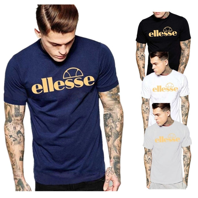 Men Summer Round Neck Short Sleeve Pullover T Shirt Popular Ellesse Logo Print Slim Fit Teens Tees 4 Color