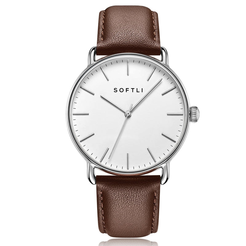 SOFTLI Paradigm 40mm Minimalist Watch for Men | Stainless Steel/Brown
