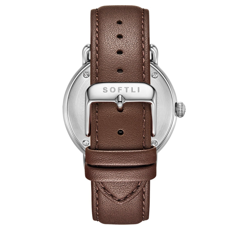 SOFTLI Paradigm 40mm Minimalist Watch for Men | Stainless Steel/Brown - Back