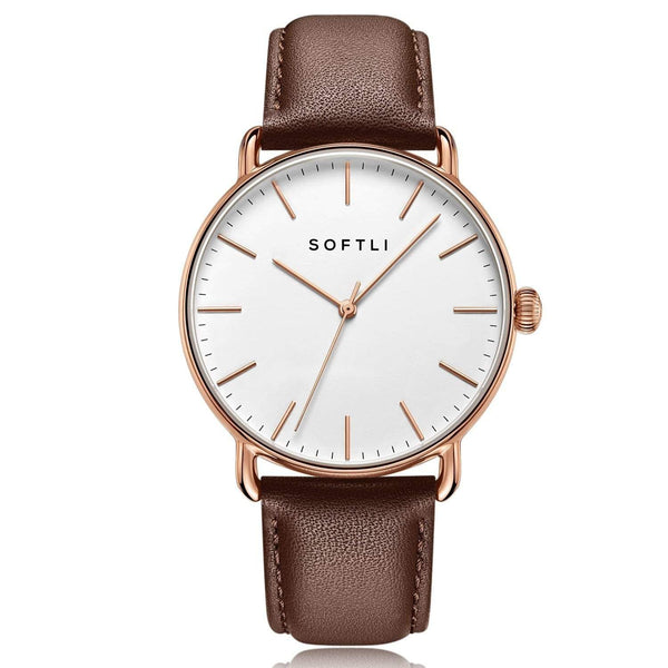 SOFTLI Paradigm 40mm | Minimalist Watch for Men | Rose Gold/Brown
