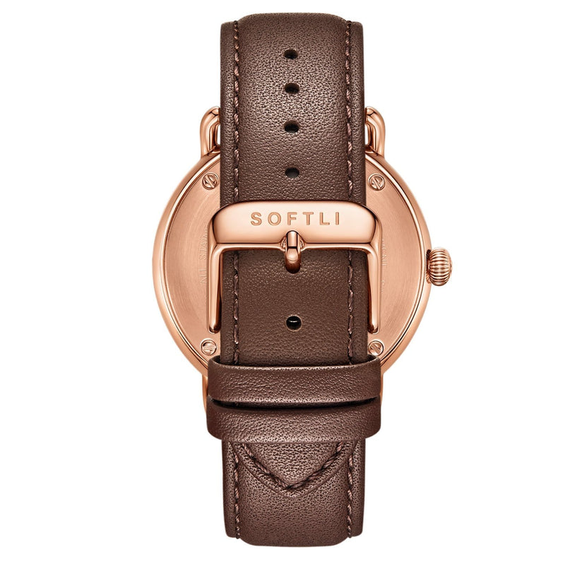 SOFTLI Paradigm 40mm | Minimalist Watch for Men | Rose Gold/Brown - Back