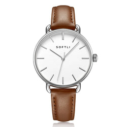 SOFTLI Paradigm 34mm Minimalist Watch for Women |Stainless Steel/Brown
