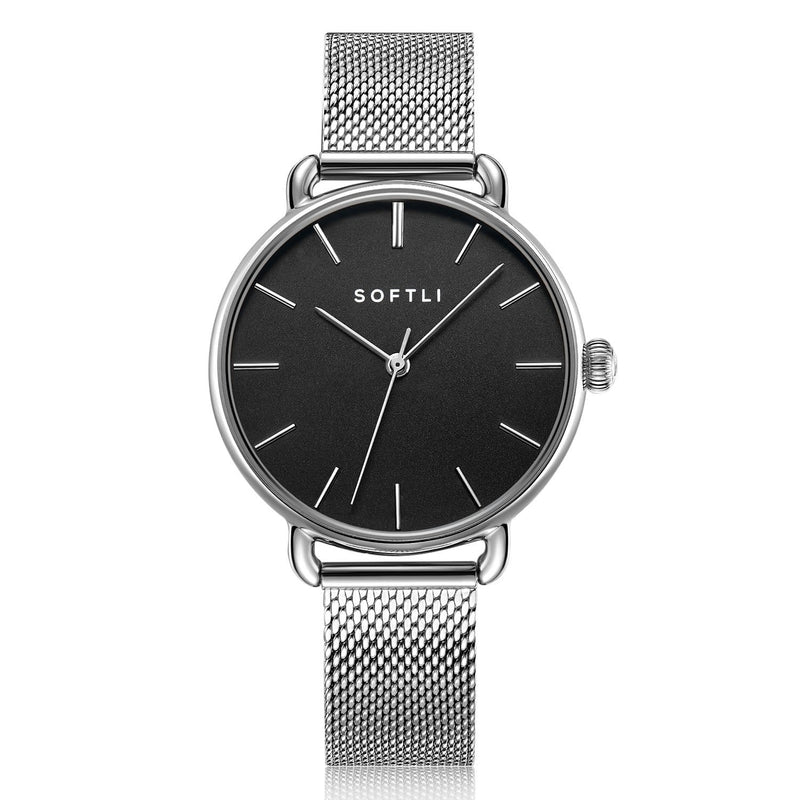 SOFTLI Paradigm 34mm Minimalist Watch for Women |Stainless Steel/Black