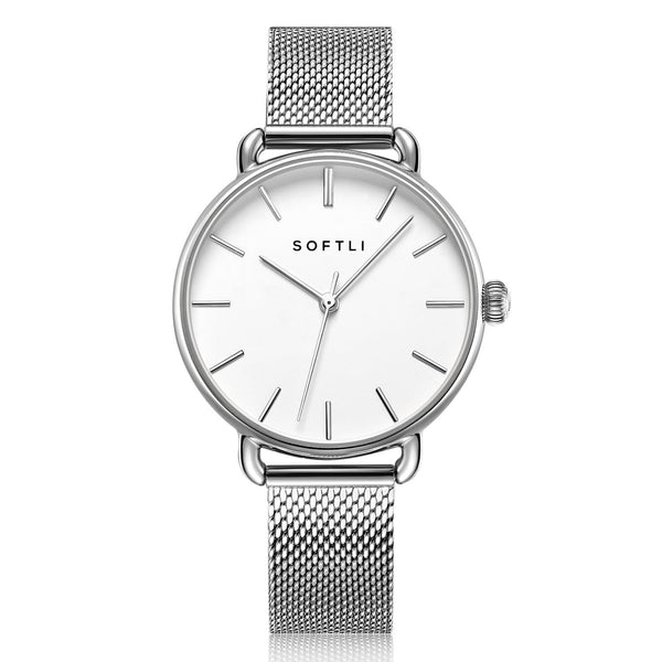 SOFTLI Paradigm 34mm Minimalist Watch for Women |Stainless Steel/White