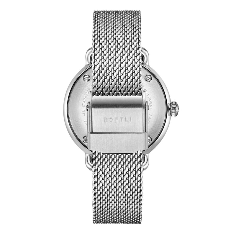 SOFTLI Paradigm 34mm Minimalist Watch for Women |Stainless Steel/White - Back