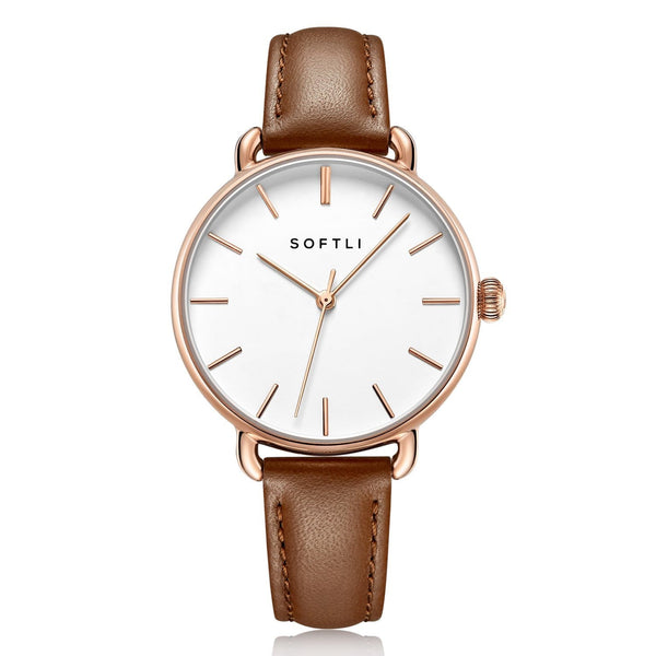 SOFTLI Paradigm 34mm | Minimalist Watch for Women | Rose Gold/Brown