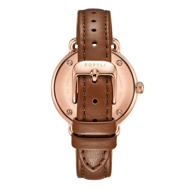 SOFTLI Paradigm 34mm | Minimalist Watch for Women | Rose Gold/Brown - Back
