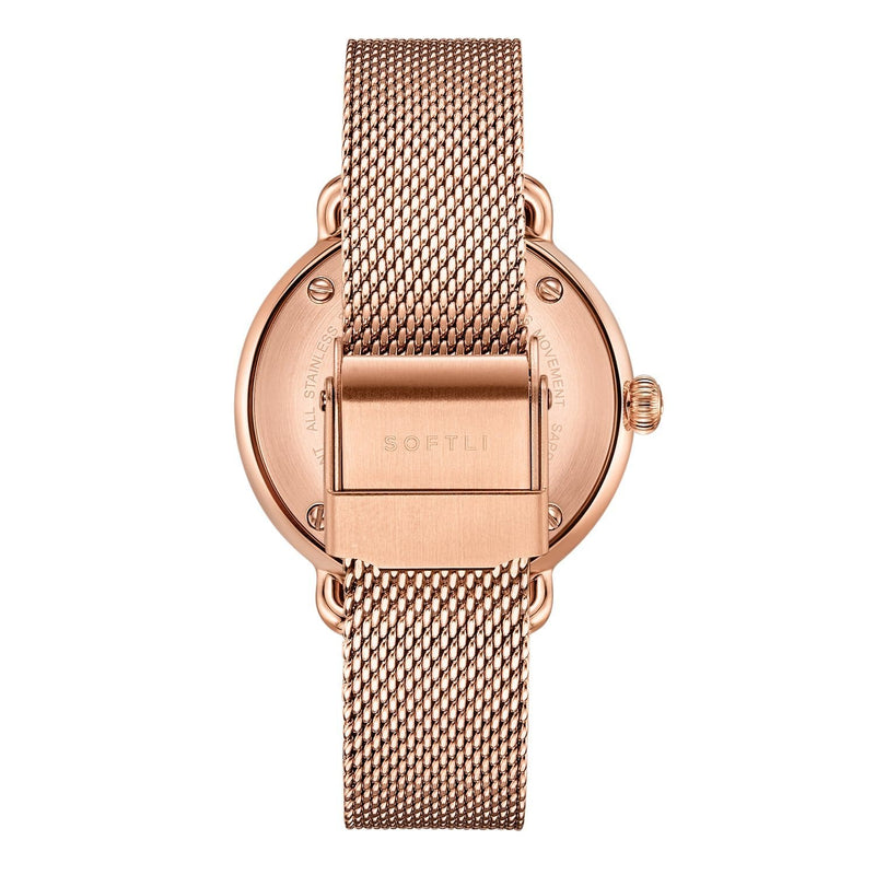SOFTLI Paradigm 34mm | Minimalist Watch for Women | Rose Gold/Black - Back
