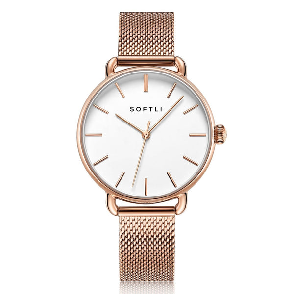 SOFTLI Paradigm 34mm | Minimalist Watch for Women | Rose Gold/White