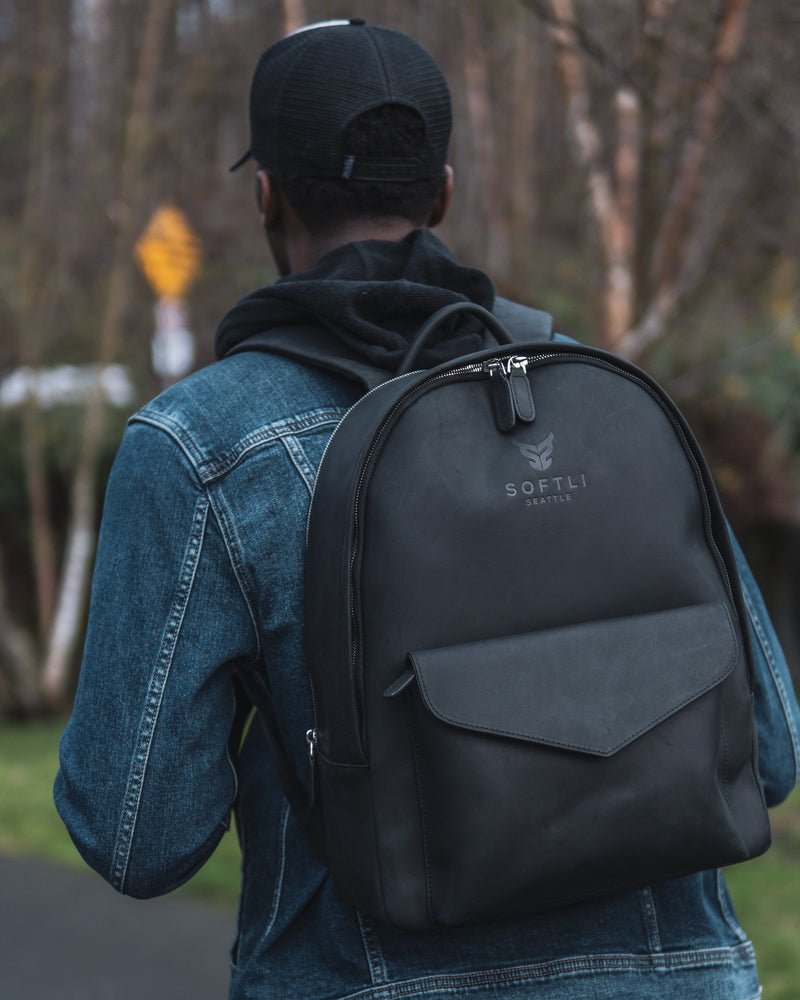 SOFTLI Leather Backpack - Black
